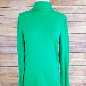 J Crew Small Green TurtleNeck Cotton Sweater